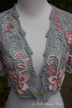 Knitted Lace shrug Irish crochet shrug women Irish lace