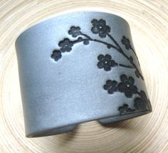 Huge SALE Silver Cuff Bracelet Asian Floral Blossoms Design, Handmade Cuff Bracelets. $15.00, via Etsy.