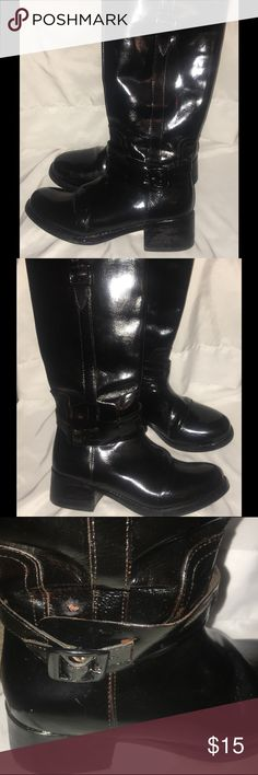 Fitzwell Patent Leather Wide Riding Boot Fitzwell Patent Leather Wide Foot &a Wide Calf riding boot Zip up riding boot  Patent Black leather with minor creases  Very comfortable . Wide feet friendly. Non smoking environment. fitzwell Shoes Heeled Boots