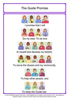 Colour New Guide Promise with British Sign Language (BSL) Signs