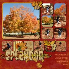 Autumn scrapbook page layout with many photos by shelby Scrapbook Sketches, Scrapbook Page Layouts, Scrapbook Paper Crafts, Scrapbook Cards, Paper Crafting, Diy Paper Christmas Tree, Scrapbooking Digital, Halloween Scrapbook, Photo Layouts