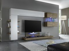 Composition TV murale design blanc laqué/gris Riviera ...