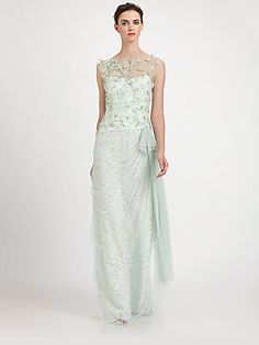 Teri Jon Tulle Overlay Lace Gown