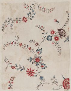 Ground: white cotton. Design: delicate scrolling vines bearing a variety of flowers, painted red, blue, and neutral violet, with dark neutral outlines.