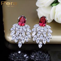 Pera Luxury Famous Brand Women Party Jewelry Fall Leaf in Wind Design Red And White Cubic Zirconia Crystal Big Drop Earring E052 #Affiliate