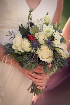 Roses and hedgerow wedding bouquet by Peamore Flora