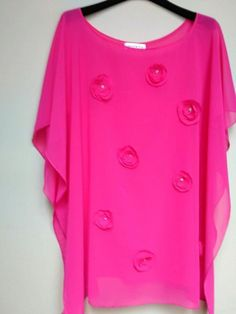 Oversized Chiffon Tunic   Womens Clothing   Hot Pink Cover up      Women Festival Top&Tees X Large  with   Embellished Flowers Tunic