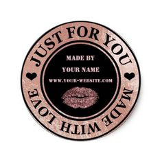 Handmade Just For You Made Love Gold Glitter Kiss Classic Round Sticker - gold gifts golden diy custom