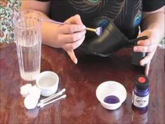 A tutorial showing how to paint leather shoes with Lumiere paint and seal with acrylic floor coating. Mix Lumiere colors with some to spare; keep in airtight container for future touch ups. The same for leather jackets. myb Sassy Feet!'s Simple Guide to Painting Shoes - YouTube