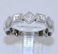 14K White Gold Round and Princess Cut Diamond Wedding Anniversary Ring Band $489