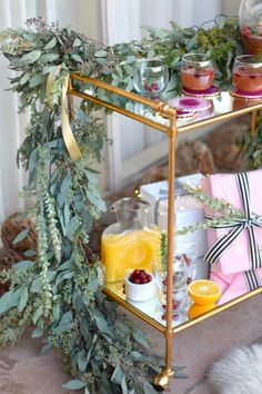 Looking for some new ideas for decorating a bar cart? Conni shares festive bar cart decor and a few great style tips with Wayfair. Diy Bar Cart, Gold Bar Cart, Bar Cart Styling, Bar Cart Decor, Bar Chairs, Bar Stools, High Chairs, Dining Chairs, Counter Stools