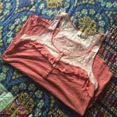 Anthropologie Eloise Lace Tank! This gorgeous tank is E by Eloise from Anthropologie. The color of the tank is dusty rose with a hint of coral with cream lace details. Excellent condition.  Anthropologie Tops Tank Tops