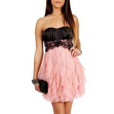 Teeze Me Black/Blush Lace Homecoming Dress ($70) ❤ liked on Polyvore