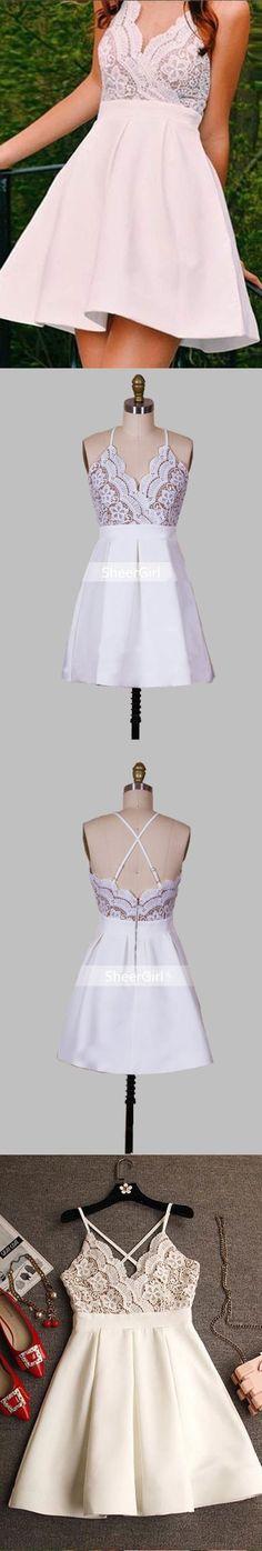 Spaghetti Strap V-neck Homecoming Dresses,Little White Dresses,2017 Homecoming Dresses