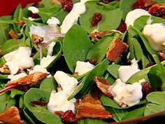 Spinach Salad with Cranberries, Pecans, Bacon, and Blue Cheese from FoodNetwork.com