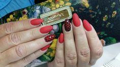 Marlboro red and black dots, matt nails.