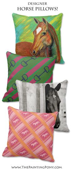 LOVE these horse throw pillows! so colorful and full of equestrian style for the home decor and interior design. Perfect for the horse lover.