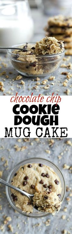 Chocolate Chip Cookie Dough Mug Cake - only two minutes stand between you and this deliciously healthy snack! It's made with NO flour, butter, or oil, but so soft and fluffy that you'd never be able to tell! | runningwithspoons... #recipe #glutenfree #vegan