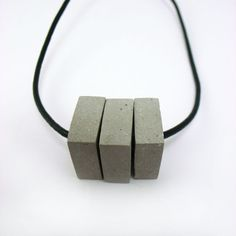 Pendant 3 Pieces Cement. Leather necklace.  #cement #beton #concreto #jewerly