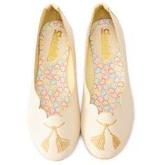 Handmade Retro Vintage Style Ivory Bridal Wedding Party Flats Shoes SKU-1090582