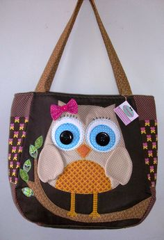 Fabric Purses, Fabric Bags, Patchwork Bags, Quilted Bag, Bag Quilt, Homemade Bags, Owl Crochet Patterns, Bag Patterns, Owl Bags