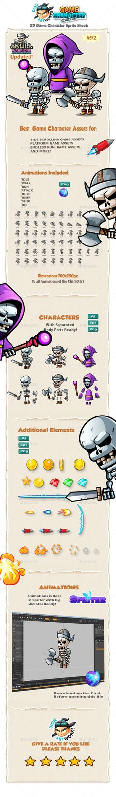 Skull Warriors 2D Game Character Sprites 92 — Vector EPS #iphone #modern • Available here → https://graphicriver.net/item/skull-warriors-2d-game-character-sprites-92/12477096?ref=pxcr