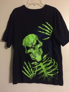 Boys XXL Glow in the Dark Skeleton Shirt BLACK Preowned  | eBay