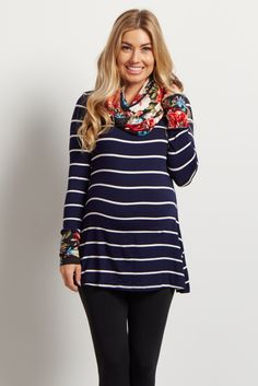 This top beautifully combines classic stripes and florals in a unique maternity top and scarf duo you won't find anywhere else. Perfect for any casual occasion, pair this duo with maternity jeans and boots for a complete look. With a scarf included, all you need to top off this flawless ensemble is your favorite jewelry.