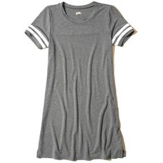 Hollister Stripe Sleeve T-Shirt Dress ($30) ❤ liked on Polyvore featuring dresses, heather grey, t-shirt dresses, sleeved dresses, tee dress, t shirt dress and striped t-shirt dresses