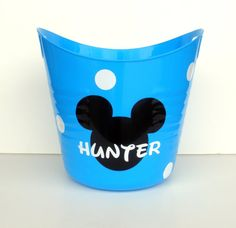 Personalized Mickey Mouse Storage Tub / Easter Basket / Bucket. $10.00, via Etsy.