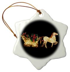 3dRose Red Green White Horse and Sleigh Lites - Snowflake Ornament, Porcelain, 3-Inch (orn_37432_1) -- Additional details at the pin image, click it  : Wedding Decor