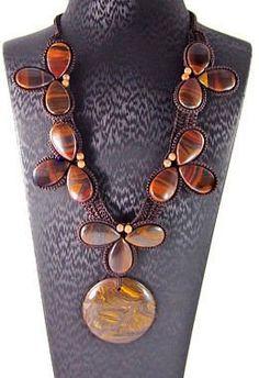 Necklace-Tigers Eye Pendant-Bead -Semi-Precious Gemstone-Womens Necklace-Tiger…