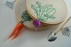 4 Embroidered Radish Hoop Art Mother's Day Gift by greenaccordion