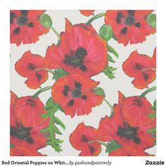 Red Oriental Poppies on White to Customize Fabric