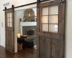 Industrial metal barn door | Etsy Barn Door Window, Glass Barn Doors, Design Innovation, Diy Sliding Door, Vintage Doors, Double Barn Doors, Custom Windows, Bedroom Doors, Interior Barn Doors