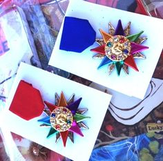 Fiesta medal - Sun spray paint button or washer gold, decorate with jewels, ribbons, etc