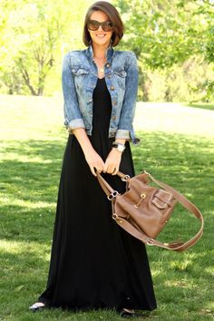Love this casual look - dress looks comfy, love jean jackets, and cute purse.