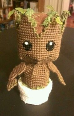 Baby Groot - Plastic Canvas by sanzosgal....unfortunately, no pattern available.