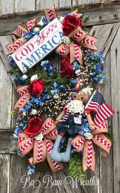 Patriotic Wreath Patriotic Decor Patriotic Door by BaBamWreaths