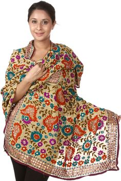 Beige Phulkari Dupatta from Punjab with Ari-Embroidery by Hand, Stoles and Shawls Chiffon Pakistani Fashion Party Wear, Pakistani Wedding Dresses, Indian Dresses, Indian Outfits, Hijab Fashion, Indian Fashion, Fashion Outfits, Punjabi Fashion, Fashion Ideas