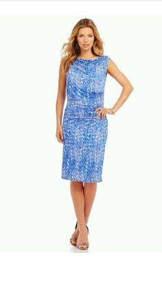 DKNYC Women's Pebble Print Knit Jersey Blue Ruched Dress Sz M MSRP $129 50 | eBay