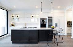 Trendy Kitchen Modern Black White Home Black Kitchens, Luxury Kitchens, Cool Kitchens, Kitchen Black, Tuscan Kitchens, The Block Kitchen, New Kitchen, Kitchen Modern, Contemporary Kitchens