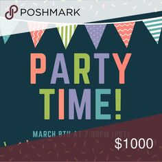 Party Announcement!! Please join me as I host my 3rd (WOW!) Posh Party on Thursday, March 8th at 7:00pm (PST). Theme to be announced. I'm looking for fresh closets - please comment below if you've never had a Host Pick. Accessories