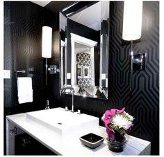 graphic wallpaper home design photos - Loved the black and white bathroom! Glamorous Bathroom, Beautiful Bathrooms, Bad Inspiration, Bathroom Inspiration, Bathroom Ideas, Bathroom Designs, Mirror Inspiration, Mirror Ideas, Furniture Inspiration