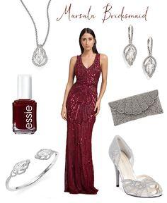 Art Deco Marsala Bridesmaid Dress and Accessories