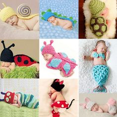 Newborn crochet baby costume photography props knitting baby hat bow infant baby photo props newborn baby girls cute outfits Baby Suits Market