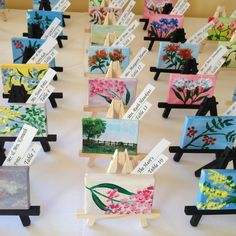 Mini paintings on easels for place cards:)