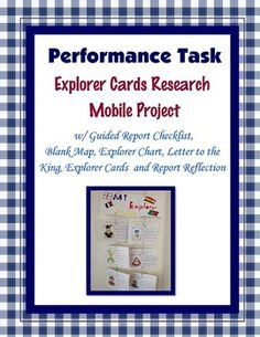 This is a research project on the explorers that includes a guided checklist, explorer cards that are filled out and an illustration of the explorer is drawn, an explorer timeline, a map of the explorer's routes, a letter to the king,  a reflection page, and a report grade sheet.