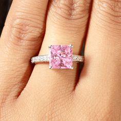 Trista's Promise Ring - Pink Princess Cut CZ