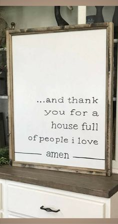 "I want this sign! So thankful for my noisy and crazy house - love my little loves! And Thank You For A House Full Of People I Love Amen 24"" x 32"" Wood Framed Sign, Living Room Wall Decor, Dining Room Wall Decor, Rustic sign, Home decor, Farmhouse decor #ad"